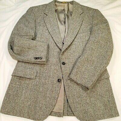 ANDERSON LITTLE HARRIS TWEED Herringbone Pinstriped Gray Blazer Jacket Men's 44R