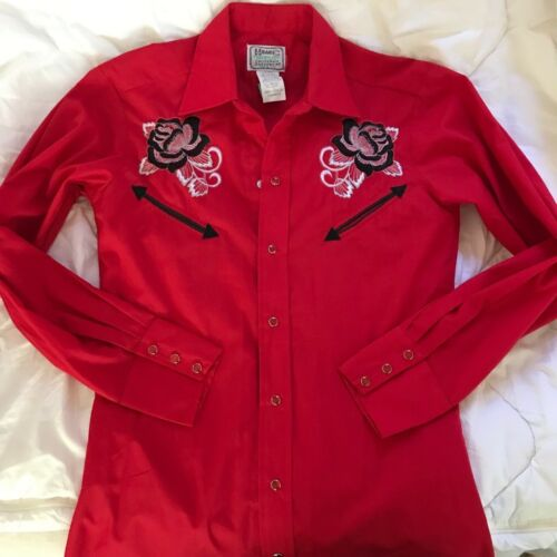 New Vintage H BAR C Embroidered Western Button Down Shirt Never Worn/Dead Stock