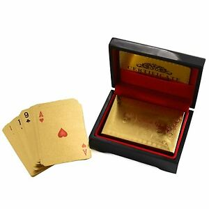 24k Pure Gold Plated Playing Cards Full Poker Pub Game Deck Wooden Gift Box Set