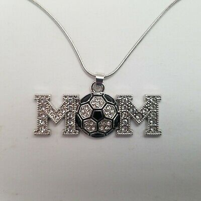 Soccer Mom Necklace with Soccer Ball - Silver Chain Necklace Jewelry - BEAUTIFUL