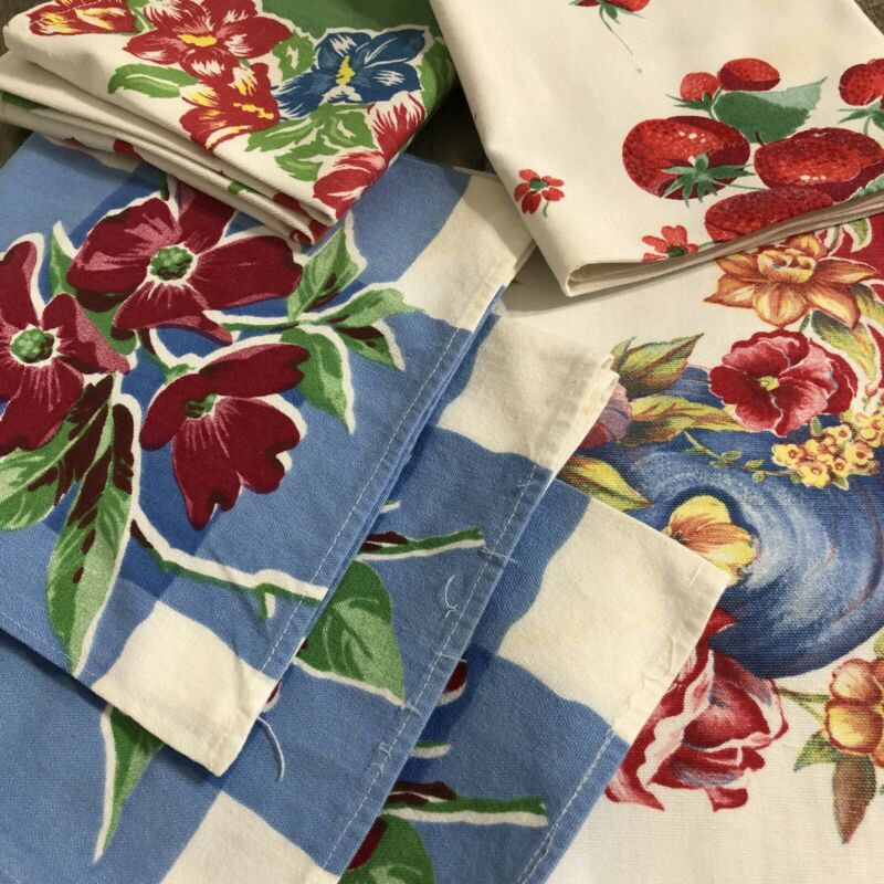 Vintage Mixed Lot of 6 Printed Table Runner Tea Towel Napkins CUTTER / CRAFT