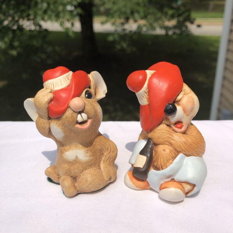 "Vintage Tinker Ware England Handpainted Squeaky & Pedro 3"" Ceramic Figurines"