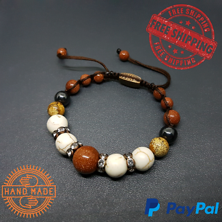 SALE Sandstone, Howlite, Jasper & Czech Rhinestones Bracelet
