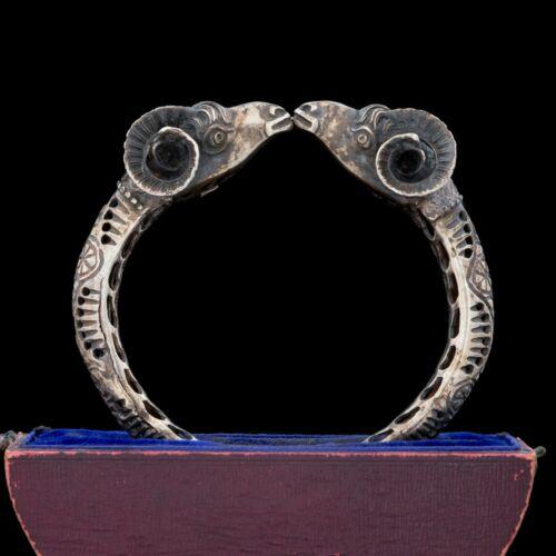 Antique Vintage Nouveau Sterling Silver Etruscan Rams Head Bangle Bracelet 46.8g