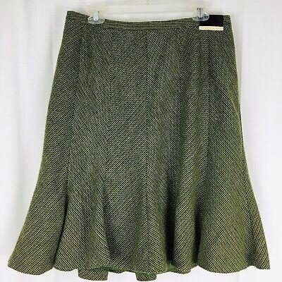 Lane Bryant Women's 14 Skirt Trumpet Lined Chevron Fall Green Knit Wool MSRP $45