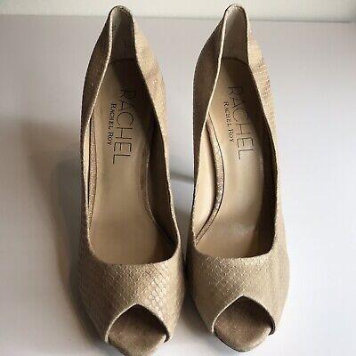 Snakeskin Rachel Roy Heels Peep Toe Beige Stilettos Sexy Shoes Leather SZ 8.5 for sale  Franklin