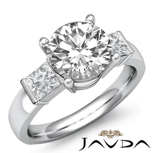 GIA Certified 3 Stone 1.6ct Round F-VVS2 Diamond Prong Engagement Ring Platinum