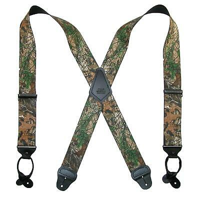 New CTM Men's Elastic 2 Inch Wide Camouflage Button-End Susp