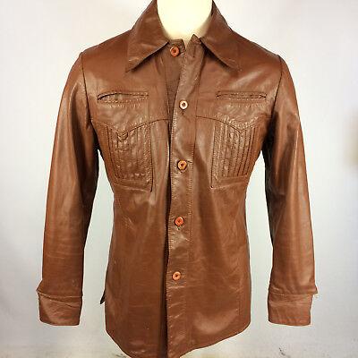 Vtg 50s 60s Mcgregor Leather Mod Retro Hollywood Gangster Sport Coat Jacket 40 (60s Gangster)
