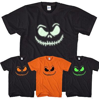 Smiling Jack T-Shirt Scary Halloween Top Glow in the Dark Print O Lantern L317 ()