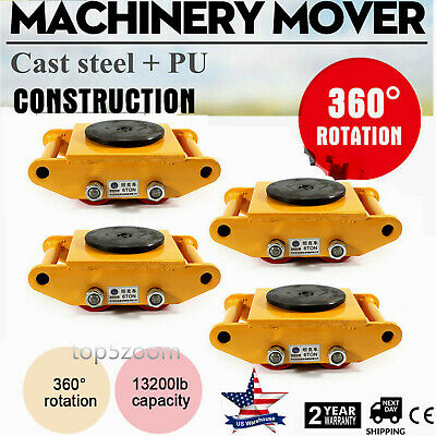 Machinery Mover With 360rotation Cap 13200lbs 6t 4 Rollers Machine Dolly Skate