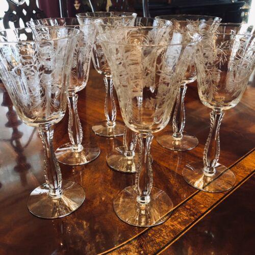 Set 7 Fostoria Heather Water or Wine Goblets Vintage Elegant Etched Crystal
