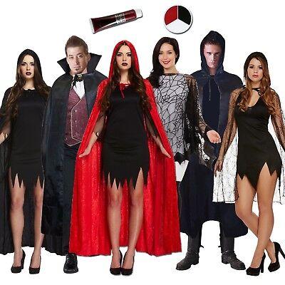 Adulto Capas Mix Disfraz de Halloween Negro Rojo Vampiro Capucha Sangre Face - Disfraz De Halloween De Vampiros