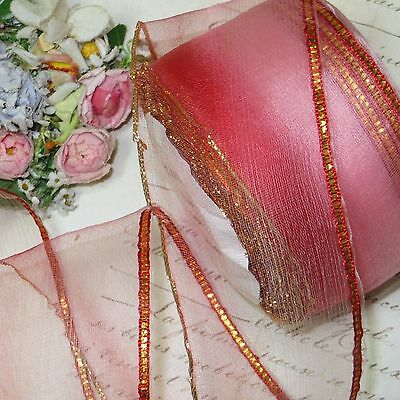 1y VTG ANTIQUE PINK METALLIC THREAD OMBRE RIBBON TRIM FLOWER ROCOCO ROSETTE