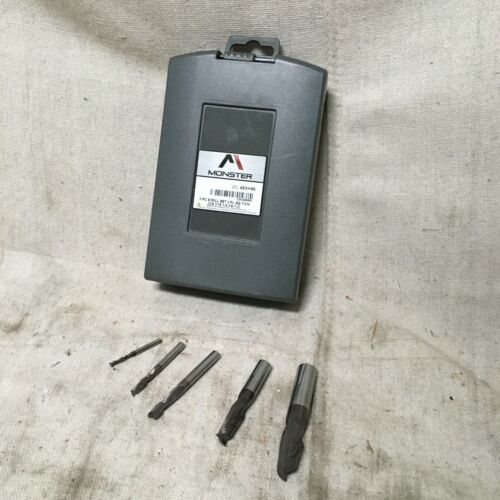 MONSTER 204-888882 End Mill Set Carbide TiCN 1/8 in to 1/2 in