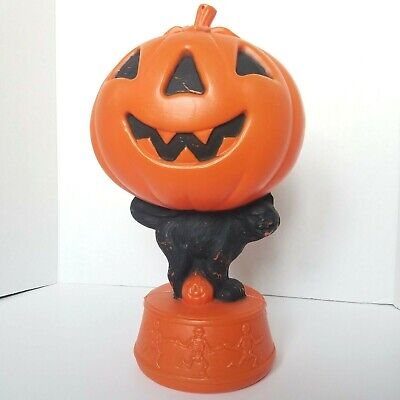 Vintage 60's PUMPKIN SKELETONS BLACK CAT Lighted Plastic Blow Mold Halloween