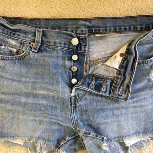 "Vintage Levis 501 Cut Off Shorts Denim High Waist 34"""