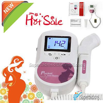Lcd Prenatal Pocket Fetal Doppler Ultrasound Baby Heart Beat Monitor With 1gel