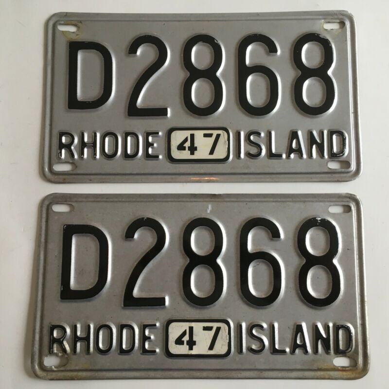 1947 Rhode Island License Plate PAIR Plates All Original Ford Chevy Dodge Buick