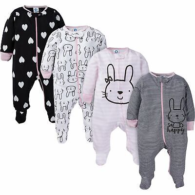 Baby Bunny Pajamas (Gerber Baby and 4-Pack Girls Pink and Grey Bunny Sleep N' Play)