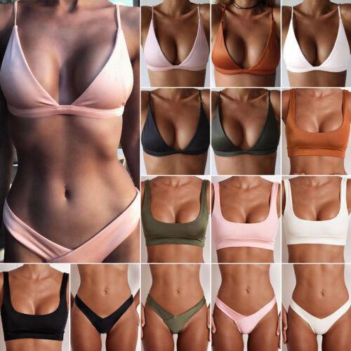 Damen Bikini Set Bademode BH Oberteile G-String Tangas Panty Unterteil Badeanzug