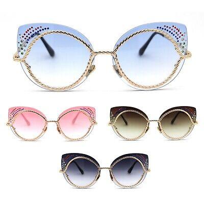 Womens Exposed Lens Wire Rope Cat Eye Rhinestone Jewel (Rhinestone Cat Eye Sunglasses)