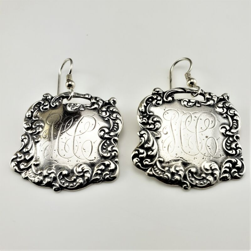 Vintage Foree Sterling Silver Luggage Tag Earrings #8169