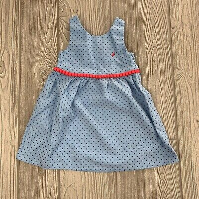 Nautica Girls 2T Dress - Toddler Sundress Blue Polka Dot