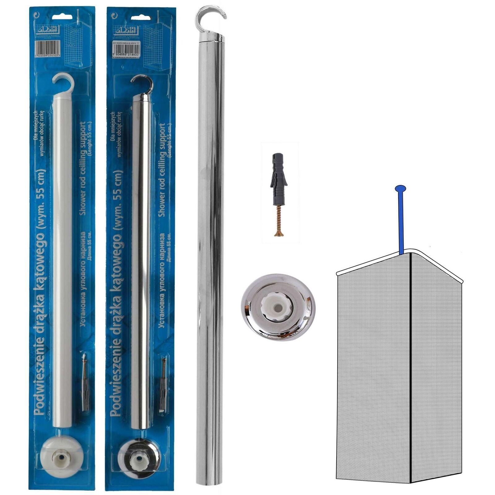 Picture of: Shower Curtain Rail Ceiling Support 55cm Length Corner Rail Rod Bath Pole Ebay