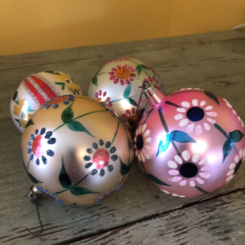4 Vintage Large Glass Christmas Ornaments w/Hand Painted Flowers Poland Mercury