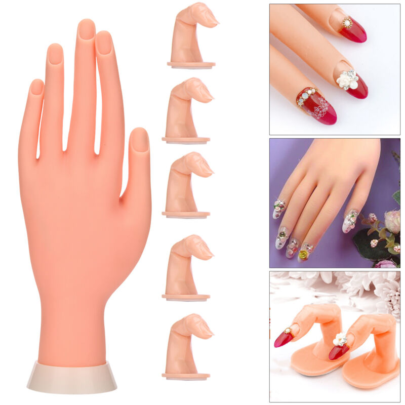 Practice Nail Art Silicone Trainer Manicure Training Hand Tool + 5 ...