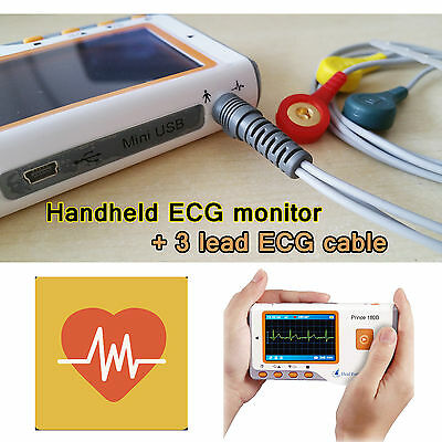 Lcd Portable Ecg Machine Ekg Heart Rate Monitor Electrocardiograph Ecg Cable
