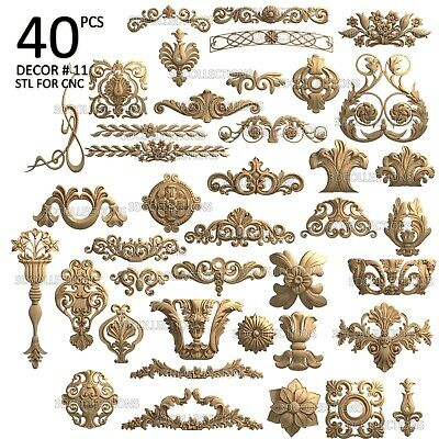 3d Stl Model Cnc Router Artcam Aspire 40 Pcs Decor Collection Pack 11
