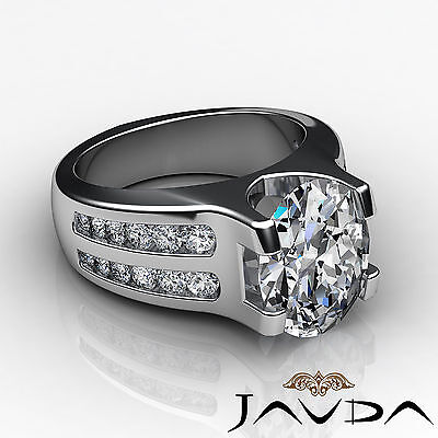 2 Row Channel Prong Setting Oval Diamond Engagement Ring GIA I Color SI1 1.62Ct 2