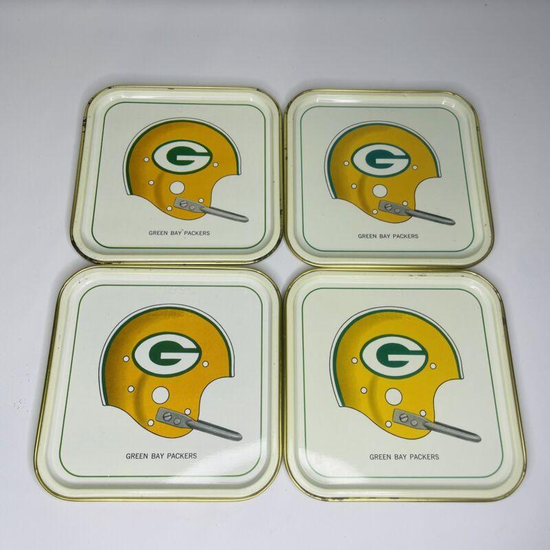 "Vintage 1965 Hormel 4 3/8"" NFL Green Bay Packers Single Bar Helmet Tin Tray SET"