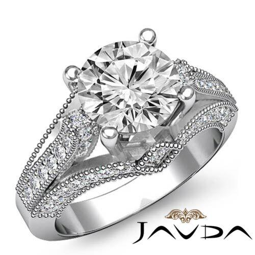 Milgrain Pave Set Round Diamond Engagement Ring GIA F SI1 14k White Gold 2.3ct