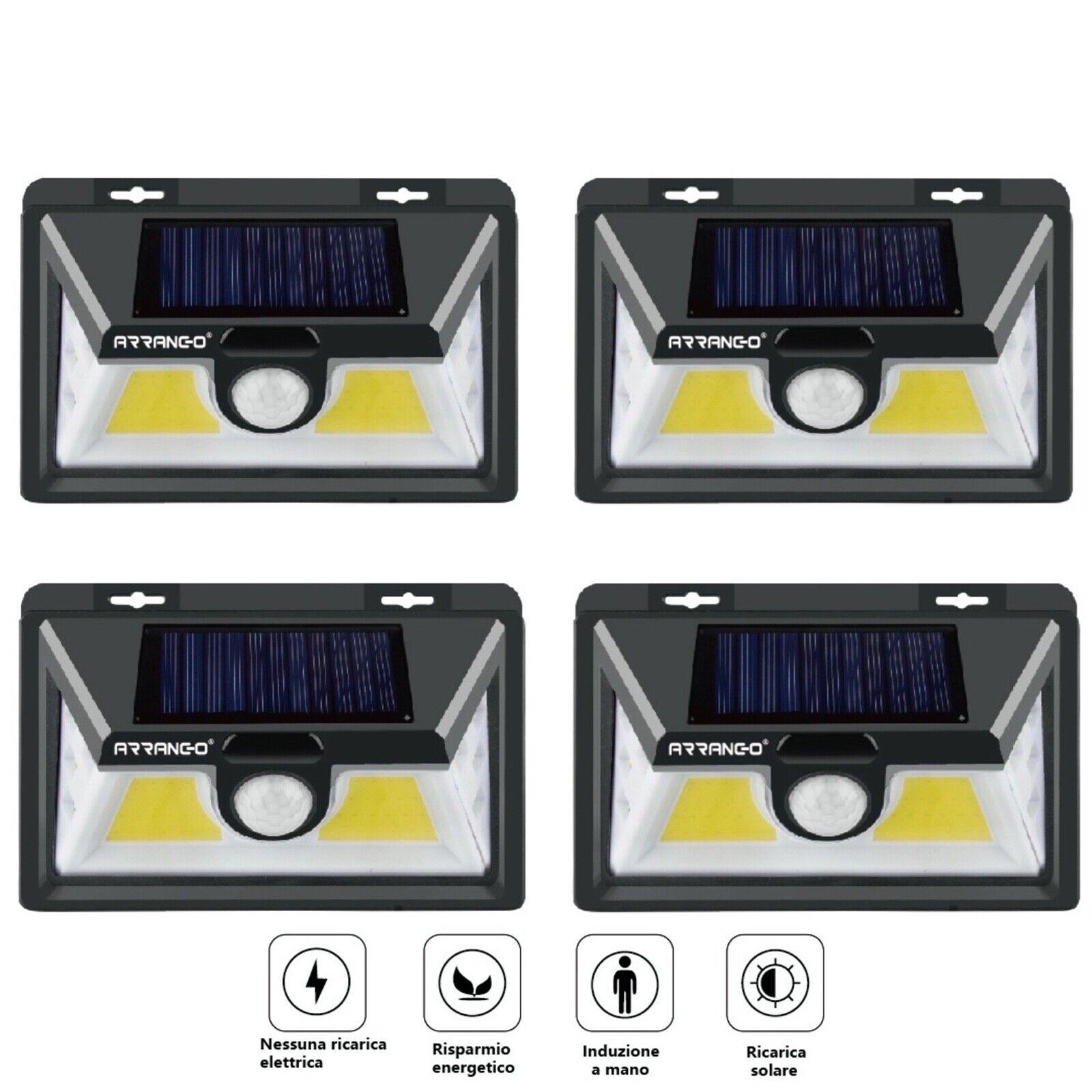 4 lampade led solare da esterno giardino