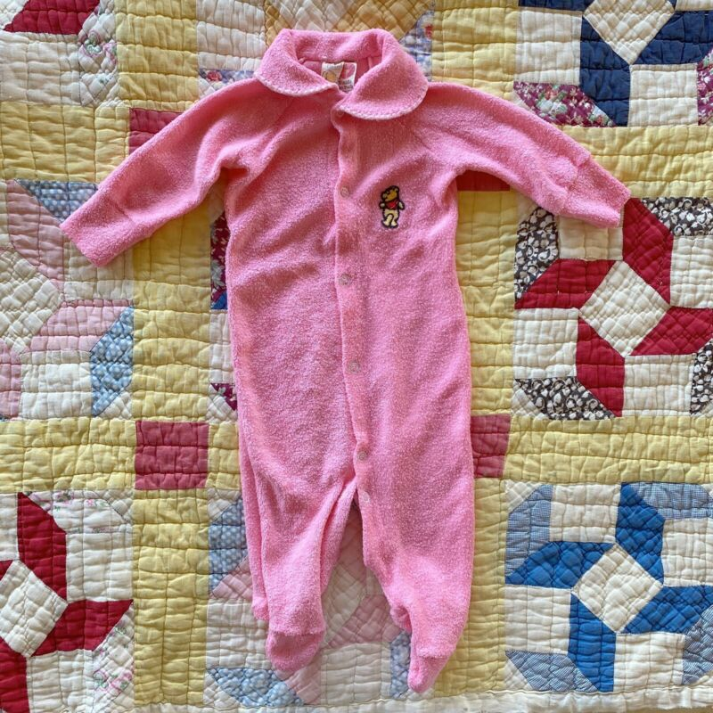 Vtg Winnie The Pooh Footed Pajamas Newborn 3 Mos Pink Kawaii One Piece Sleeper