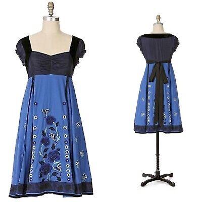Anthropologie Summer Solstice Dress 10 Medium Embroidered Velvet Puff Sleeve