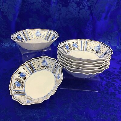 "Wedgwood Papyrus Blue Silver England Bone China 1 Of 8 - 5"" Fruit Bowls Nappies"