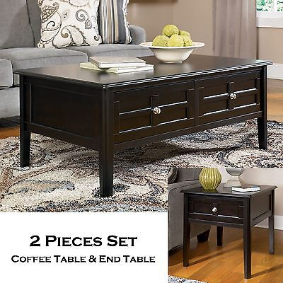GLEN - 2pcs New Rectangular Cocktail Coffee End Occasional Table Set Living Room