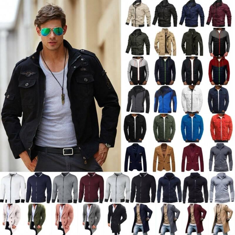 Men's Winter Casual Coat Slim Fit Warm Tops Trench Coats Bom