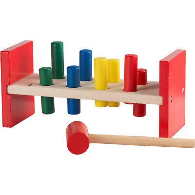 Hammerbank Klopfbank aus Holz für Klein-Kinder ab 18 Monate 8 Stifte und Hammer