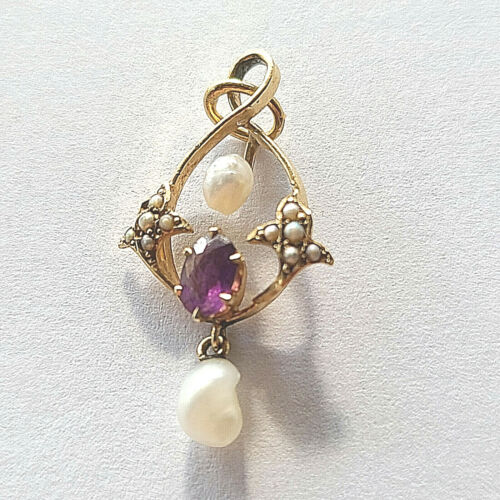 Antique 14K Yellow Lavalier Pendant Amethyst Mississippi Pearls & Seed Pearls