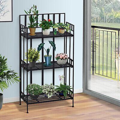 Portable Retro 3-Tier Garden Plant Stand Metal Flower Display Rack Bookshelf
