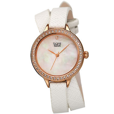 Women's Burgi BUR224WT Diamond Crystal White Double Wrap Safiano Leather Watch