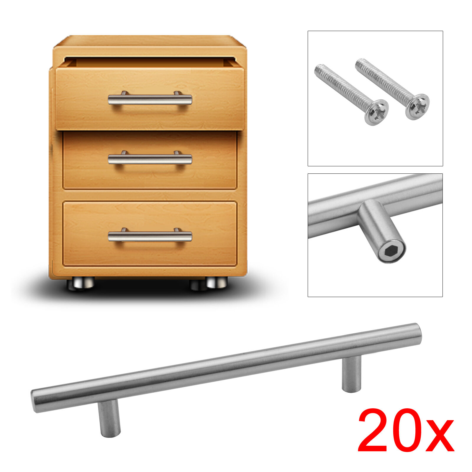 20x t bar poign es de portes en acier bross cuisine cabinet tiroir armoire vis ebay. Black Bedroom Furniture Sets. Home Design Ideas