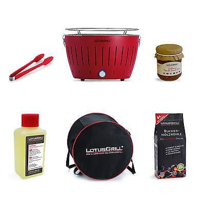 LOTUSGRILL *SET* Feuerrot + Grillzange + Kohle 1kg + Brennpaste + Grillsauce