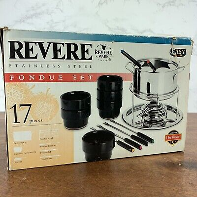 Revere Ware Fondue 17 Piece Set Stainless Steel New in Box