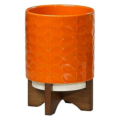 Orla Kiely Medium Ceramic Plant Pot with Stand - 60s Stem Leaf (Poppy) - New